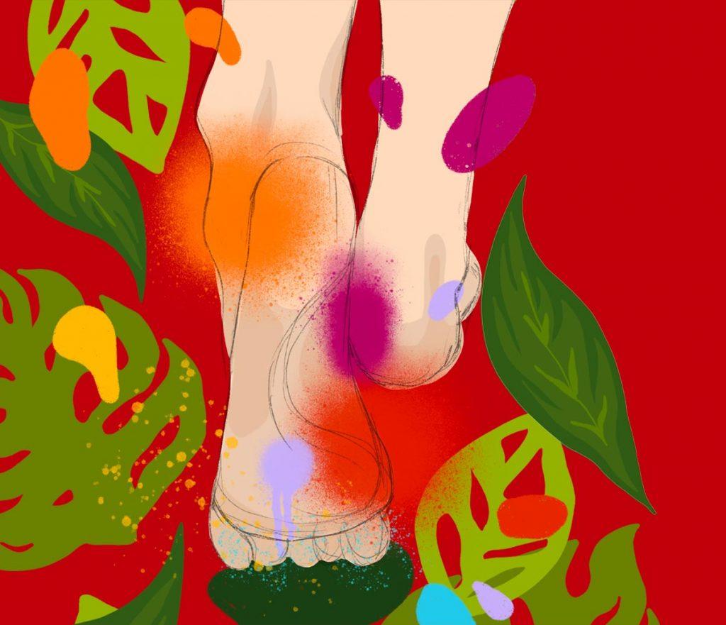 Réflexologie plantaire - pieds avec couleurs